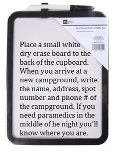 this is great information.... include the In Case of Emergency contact phone number for campground or emergency personnel to call your family.