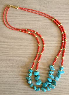 Turquoise necklace colar turquesa e laranja Beaded Jewelry, Jewelry Necklaces, Beaded Necklace, Bracelets, Red Turquoise, How To Make Beads, Making Ideas, Jewelry Crafts, Seed Beads