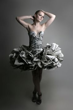 Photo by Cindy Wesselman.I read the news today.oh boy. Paper Fashion, Fashion Art, Fashion Show, Fashion Design, Paper Clothes, Paper Dresses, Recycled Dress, Recycled Clothing, Newspaper Dress