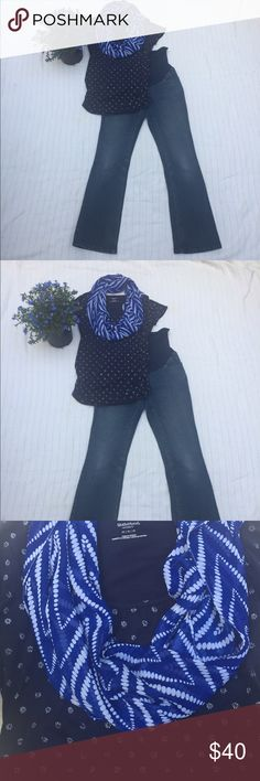 Motherhood top and jeans size medium maternity Cute navy print top, boot cut, full panel medium jeans, lots stretch for comfort. Easy everyday style achieved in a look👖❤👕🌸 Motherhood Other
