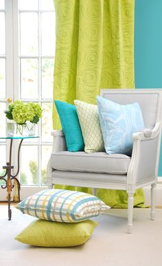 Lime Color Curtains Go With Sage Green Walls Lime Green Curtains, Sage Green Walls, Blue Walls, Turquoise Cottage, Bedroom Colors, House Colors, Bunt, Interior Inspiration, Decorating Your Home