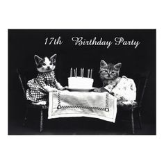 Cute Vintage Kittens 17th Birthday Party Personalized Announcement