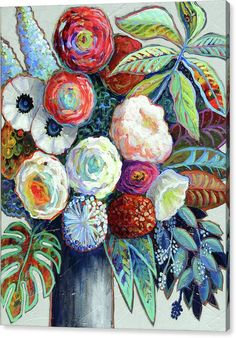 Contemporary Floral Canvas Print featuring the painting Diversity by Ande Hall
