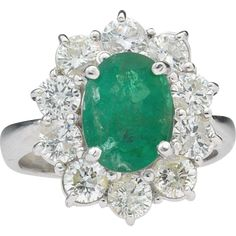 Stunning and Impressive 1940s 4.5 ct tw Emerald  VS1 Diamond  14k Gold Cocktail Ring LAYAWAY