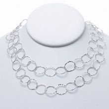 13mm Sterling Silver Hammered Long Chain www.jewelya.com