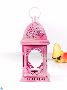 Frosty Pink Decoration Light - Silver Exotic Lantern Centerpiece - Filigree Metal Candle Holder - Holiday Table Decor by OpenVintageShutters on Etsy