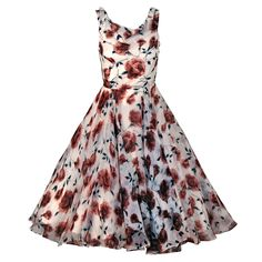 1950's Watercolor Mocha-Roses Floral Silk Print Dress
