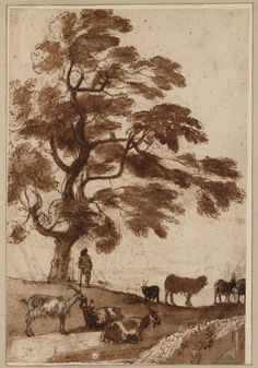 Claude Lorrain, Goatherd by a tree, ca. 1638.