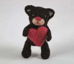 Needle Felted Teddy Bear with a Red Heart Felted Animal by MiaPuPe. , via Etsy.