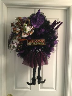 A personal favorite from my Etsy shop https://www.etsy.com/listing/528023558/halloween-wreath-witch-welcome-my