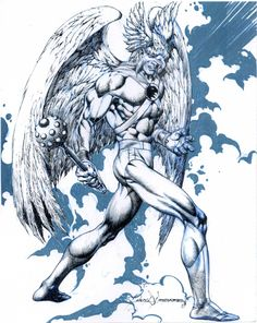 Hawkman by Rudy Nebres, in the February 2013: They Came From Outer Space Comic Art Sketchbook