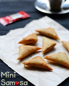 mini-samosa-with-pastry- Potato, Large	 2  Onion	 1  Sambar powder/ red chilli powder	 1 tsp  Garam masala powder	 1/4 tsp  Fennel seeds powder	 1/4 tsp  Turmeric powder	 1/8 tsp  Amchur powder / Chaat masala (Optional)	 1/4 tsp  Salt	 As needed  Oil	 2 tsp  Jeera/ cumin seeds	 1 tsp  Coriander leaves, chopped	 2 tblsp  Spring roll pastry sheets (Large size)	 8  Maida	 2 tblsp
