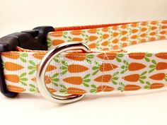 Easter Dog Leash Carrots Dog Leash 1 inch wide 1ft by caninedesign
