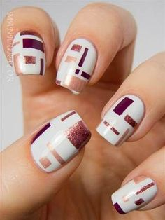 Unique and Creative Geometric Nail Designs For You. If you are looking for nail art designs and are still undecided then you are in the right place. We have put together unique ve beautiful geometric nail designs for you. Latest Nail Art, Trendy Nail Art, Hair And Nails, My Nails, Cute Nails For Fall, Fall Nails, Geometric Nail Art, Geometric Designs, Geometric Shapes