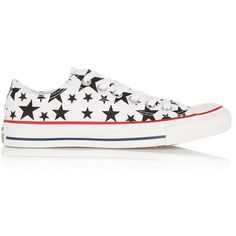 Converse Chuck Taylor All Star printed canvas sneakers ($71) ❤ liked on Polyvore featuring shoes, sneakers, converse, white, white trainers, canvas lace up sneakers, plimsoll sneaker, white sneakers and converse sneakers