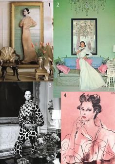 Gloria Vanderbilt  1. Aaron Shikler painting, 1982. Gloria is wearing a Fortuny gown from her personal collection. 2. Francesco Scavullo photograph, 1969. 3. Richard Avedon photograph, 1969. Gloria is wearing Bill Blass. 4. Rene Bouche drawing for Vogue, 1960s.