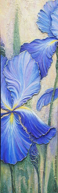 Love how it almost looks like sandstone or travertine. And I love iris flowers, need this piece. :)