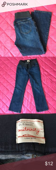 Old Navy Maternity Jeans Low Rise Size M Short Old Navy Maternity Jeans Low Rise Size M Short. Dark wash and excellent condition!  Jeans are 99% Cotton and 1% Spandex. Waist band is large elastic band and is very Stretchy - 92% Cotton 8% Spandex. Please see pictures for measurements. Old Navy Jeans Straight Leg