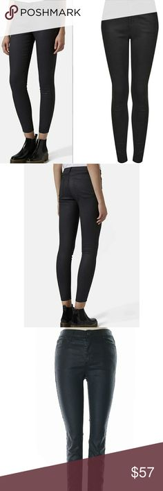 Topshop Moto Black Coated Skinny Jeans Topshop Moto Black Coated skinny jeans in excellent condition. Please note that topshop jeans always run small. Size down one.  Skinny mid-rise jeans are enriched with a glossy ebony coating and cropped above the ankle for a versatile, retro-inspired look. Topshop Jeans Skinny