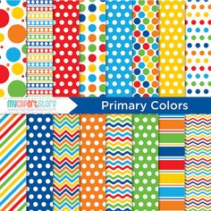 Digital Paper  Primary Colors   Instant Download by MyClipArtStore, $3.00