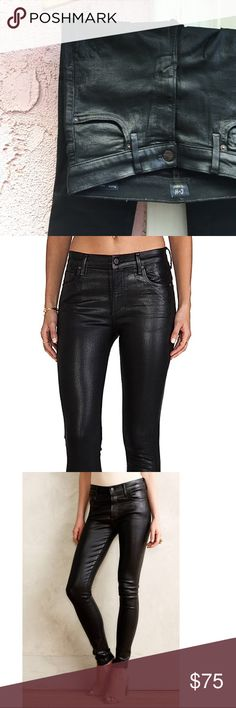 Citizens of Humanity Rocket High-Rise Coated Denim Coated denim gives an animal friendly leather look, with all the same sex appeal. High-rise fit with all the necessary stretch. Pair with sequined crop for a night out, or vintage tee for brunch with friends. These are more versatile than you might think. These are in good condition with some wear in the coating, consistent with age and use. Citizens of Humanity Jeans Skinny