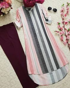 Image may contain: stripes Kurti Neck Designs, Kurta Designs Women, Kurti Designs Party Wear, Muslim Fashion, Fashion Wear, Hijab Fashion, Fashion Dresses, Stylish Dresses, Simple Dresses