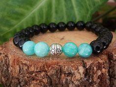 Mens Beaded Bracelet, Women's Beaded Bracelet, Mala Bracelet, Intention Bracelet,Gemstone,Black Onyx,Turquoise Jade by tovvanda on Etsy