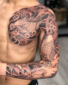 Chest Tattoo Japanese, Japanese Tattoos For Men, Japanese Flower Tattoo, Japanese Dragon Tattoos, Japanese Tattoo Designs, Japanese Sleeve Tattoos, Full Chest Tattoos, Half Sleeve Tattoos For Guys, Full Sleeve Tattoos