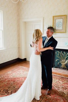 Wedding photography, bride, bridal, father of the bride, parents wedding day, first look, reveal, back of wedding dress, beaded wedding dress, anne barge, southern maryland wedding