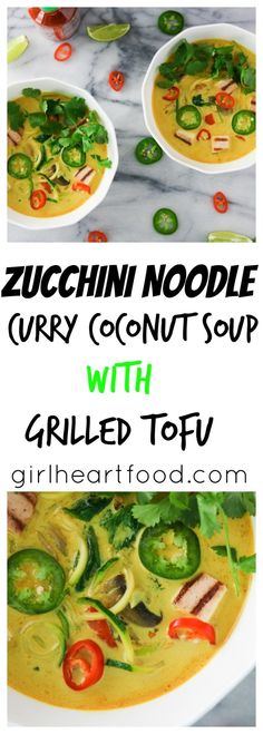 Zucchini Noodle Curry Coconut Soup with Grilled Tofu {vegetarian, gluten free, dairy free}-girlheartfood.com
