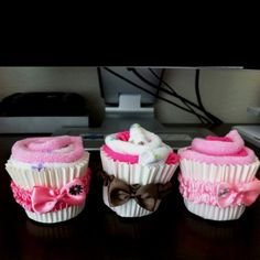 Baby washcloth cupcakes! Perfect shower gifts, or decorations! :)