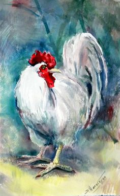 White Rooster Original watercolor painting 175 X by ORIGINALONLY, $135.00