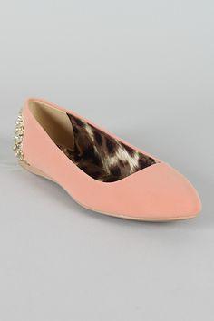 Qupid Gracie-18 Studded Nubuck Pointy Toe Ballet Flat $24.20