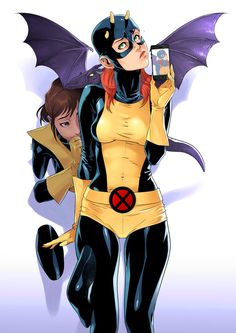 """Demon"" Jean Grey taking a selfie with Kitty Pryde and Lockheed behind her, hehe! by 2ngaw"