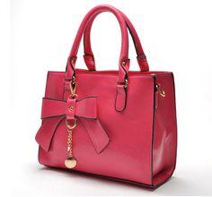 "Material:PU  Colour:Black/Blue/Wine+red/Rose+red  Size:Length:27CM/10.6""++High+:23CM/9.1""+++Thick:12CM/4.7""  Weight:+0.68kg  Style:Handbag,shoulder+bag,messenger+bag    The+elegant+bow+decoration,+simple+shape,+emitting+a+sweet+flavor.  The+handbag+can+be+used+as+shoulder+bag.+It+is..."