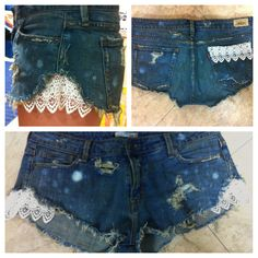 frilly girl meets tomboy.  I am doing this to a pair of my favorite old cut offs!