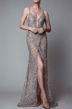 Amazing Shinning Prom Dress,Silver Beading Evening Dress,Spaghetti Straps Party Dress,Sexy Slit Prom Gown