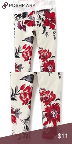 NWT Old Navy red floral holiday winter leggings NWT 54942e14a
