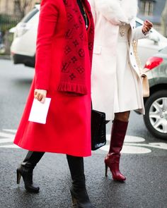 Vibrant red coat + LV monogram Scarf Street Style at Spring Summer 2014 Paris Haute #Couture