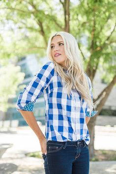 Plaid Buttondown with Polka Dot accents