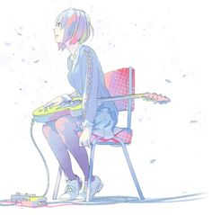ImageFind images and videos about girl, anime and guitar on We Heart It - the app to get lost in what you love. Manga Girl, Anime Manga, Anime Art, Character Concept, Character Art, Concept Art, Character Illustration, Illustration Art, Ouvrages D'art