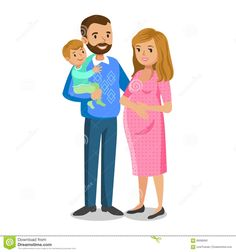 Typical Family In Love, Little Boy And Parents, Pregnant Woman Stock Vector - Image: 66096991