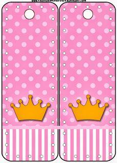Tarjetería: corona sobre fondo rosa.