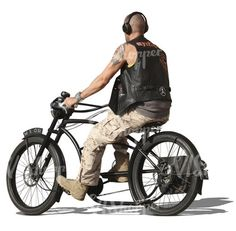 A bald man riding a stylish bicycle Learn Photoshop, Photoshop Brushes, Render People, Cut Out People, Bald Man, Figure Poses, Montages, Entourage, Dieselpunk