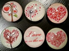 Valentine magnets set of 6 Love is in the air