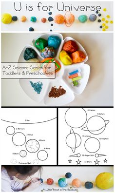 A Little Pinch of Perfect: STEM Preschool Activity: U is for Universe + Free Printable-Build a play dough solar system model and decorate a solar system coloring page. Book suggestions and key points to talk about are included.