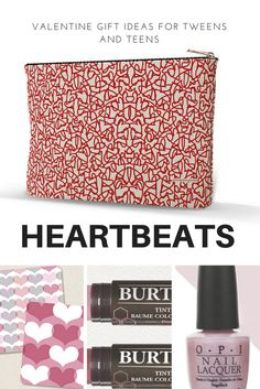 I like to get our daughter's  BFFs a little something special for V-Day.  This year, I am stuffing our Heartbeats Bag, with a few goodies from the drugstore and our sweet heart coasters. Accessory bags are made in North Carolina by one of the most historic textile mills.  Size: 12.5x 7 with flat bottom. Designed by Carol Fazio. Only $12.00