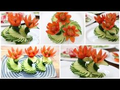 Tremendous Salad Ornament Concepts - Cucumber Carving Garnish - Ideas of Decoration Salad Decoration Ideas, Vegetable Decoration, Fruit Decorations, Fruit Display Wedding, Vegetable Cups, Marshmallow Cake, Wonton Cups, Food Garnishes, Garnishing