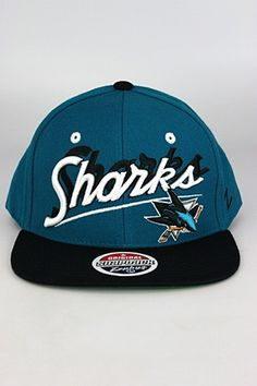 Zephyr Shadow Script San Jose Sharks Snapback Hat Teal - Black - White