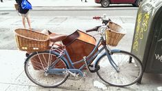 Cool Bicycle With Wooden Sidecar And Front Back Baskets Spotted in Chelsea. #nyc #biking